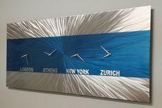 Blue Metal Wall ArtLarge Abstract Wall Clock Office Decor