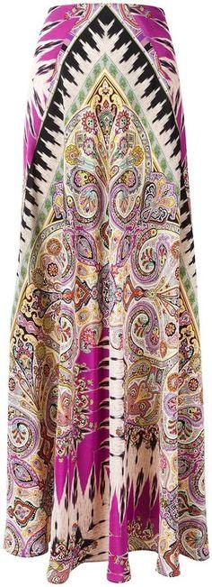 Etro - jupe longue à motif cachemire - women - Soie - 42 8dcde96900e2