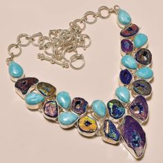 SB9-AWESOME-TITANIUM-DRUZY-LARIMAR-925-STERLING-SILVER-JEWELRY-NECKLACE
