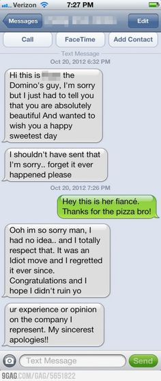 Pizza delivery guy tried to hit on my friends fianc