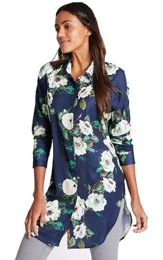 MARKS & SPENCER COLLECTION Floral Print Long Sleeve Shirt T43/6269.  UK16 EUR44  MRRP: £27.50GBP - AVI Price: £16.99GBP