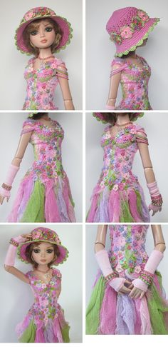 """""""FLEURS DÉTÉ""""  A stunning and entirely OOAK outfit for Ellowyne Wilde and her friends. An art piece by Raccoon's Rags."""
