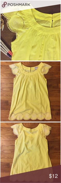 """Buttery Yellow Eyelet Tunic Top by Speechless - M Buttery Yellow Eyelet Tunic Top by Speechless --- size medium ---  the eyelet technique is found at the bottom hem of dress and on the flutter cap sleeves --- two buttons at back of neck --- 100% cotton --- unlined --- 19"""" bust & 29"""" length --- can be worn as tunic over cut off shorts, or as a mini dress --- this is junior sizing, the hips measurement is 20"""" --- please make sure this tunic will fit over your hips --- thank you for visiting my…"""