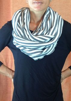 Unisex Grey and White Stripe Thermal Infinity Scarf by DeZeStar