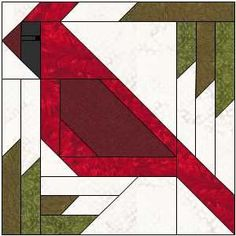 """This is the seventh quilt block for the """"Have a Jolly Little Christmas"""" quilt along! All the details for the """"Have a Jolly Little Christmas"""" quilt along are this page. Cardinal in the Pines i Christmas Blocks, Christmas Quilt Patterns, Barn Quilt Patterns, Paper Piecing Patterns, Christmas Sewing, Pattern Blocks, Christmas Quilting, Quilting Patterns, Quilting 101"""