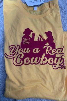 Yellow john travolta bud & sissy urban cowboy yellow T-shirt brand new Cowboy Birthday, Cowboy Party, Urban Cowboy Movie, Cowboys Shirt, Yellow T Shirt, John Travolta, 20th Birthday, Vinyl Shirts, Dress For Success