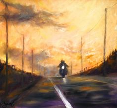 Bikers in the sunset 40 x 42 cm // 15.7 x 16.5 inches Oil on fiberboard Available