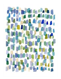 Rain Abstract painting Watercolor painting blue by LouiseArtStudio,