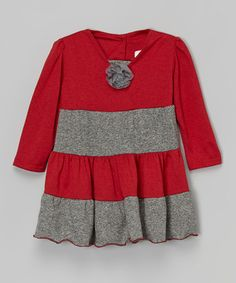 Loving this Gray & Red Rosette Princess Dress - Infant, Toddler & Girls on #zulily! #zulilyfinds