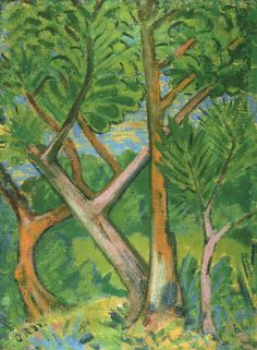 """amare-habeo:  """"  Otto Mueller (German, 1874 - 1930)  Forest landscapes (Waldlandschaften), 1921  Oil on canvas  """""""