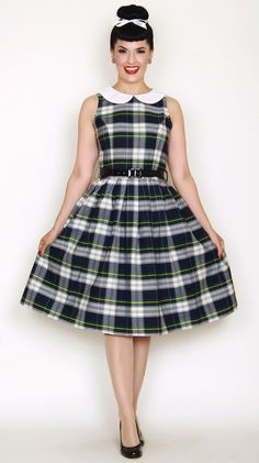 Sunday Morning Pin Up Girl Style Dress in Blue Tartan Plaid #pin-up-dress #wholesale