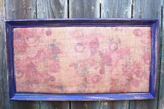 Shabby Chic Purple Framed Bulletin Board 26.5x14.5 by EightySix56 Shabby Chic Purple Framed Bulletin Board - 26.5x14.5 - Vintage Floral Burlap Covered Cork Board - Anthropologie Inspired Memo Message Board
