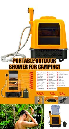 One of the most, if not the most, feature packed outdoor showers you will ever see! Packing friendly this is the perfect shower and general water use option when you are outdoors. Click and see the detailed multi-function breakdown. #camping #tent #hiking #tactical #outdoors #campingfood #campinghacks #hikinghacks #sleepingbag #campingmusthaves #hikingandcamping #campinggear #campingtents #campingglamping #campingsurvival #bigtents #campingrecipes #cheapmattresses #tactical #offthegrid Camping Must Haves, Camping 101, Camping Glamping, Camping Survival, Camping And Hiking, Outdoor Survival, Camping Meals, Survival Skills, Hiking Food