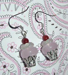 Beaded Cupcake Handmade Earrings by CraftyChic90 on Etsy, $2.50