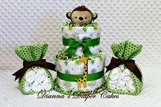 Monkey baby shower diaper cake.