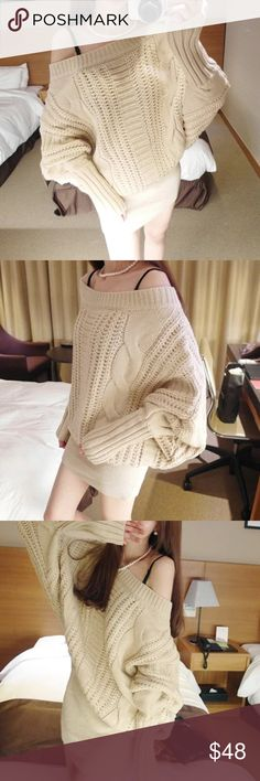 """HURRY LAST ONE 🌹Oversized ivory knitted sweater Material: acrylics. Measurement: length: 33-34"""", bust: 37-38"""", sleeve length: 24"""" Sweaters"""