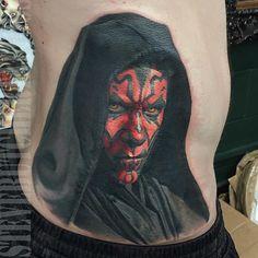 Darth Maul  from Star Wars  Tattoo, May the force be with you, princess leia, luke skywalker, darth vadder, hans solo, chewy, lando, R2D2, C3PO, jabba the hut, lando, death star, yoda, ewaks, obi one kenobi, dark side, wookie, light saber, millennium falcon, Admiral Ackbar, anakin skywalker, at-at walker, bantha, BB-8, boba fettm , Chewbacca,   www.talesofthetatt.com