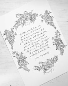 Handwritten calligraphy poem with botanical illustration.   Created for a birthday gift to the young lady who wrote this poem. Calligraphy Wedding Place Cards, Calligraphy Save The Dates, Calligraphy Envelope, Foil Wedding Invitations, Modern Calligraphy, Wedding Paper, Wedding Cards, Vow Booklet, Pencil And Paper