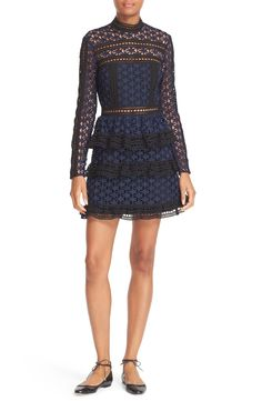 Self-Portrait Star Lace Tiered Minidress available at #Nordstrom