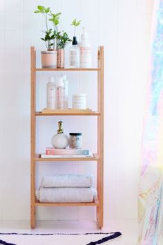 Shop Bamboo Tiered Shelf at Urban Outfitters today. We carry all the latest styles, colors and brands for you to choose from right here. Bathroom Shelves, Bathroom Organization, Organization Ideas, Bathroom Storage Ladder, Storage Mirror, Storage Ideas, Storage Shelves, Shelving, Storage Cart