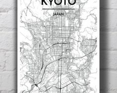 Black & White Madrid ciudad mapa imprimir por PointTwoMaps en Etsy