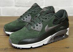 Nike Air Max 90 Women Running Shoes Dark Green Black White Silvery,Price:$48