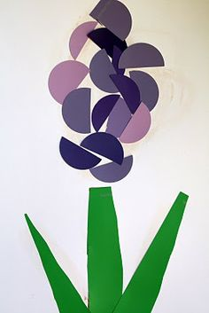 paint chip hyacinth spring craft  this would work well with making blottos and then cutting out circles/semi-circles.....