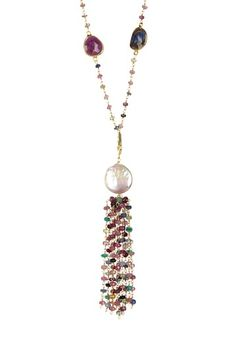 Natural Sapphire Freshwater Pearl Tassel Station Necklace by Forever Creations USA Inc. on @HauteLook
