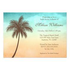 Nautical Tropical Beach Palm Tree Bridal Shower Invitations
