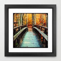 Autumn Bridge Photograph Orange Blue TTV by PeppermintCreekPhoto