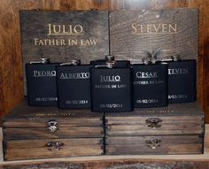 5 Cigar Boxes & 5 Flasks Groomsman Gift Set - Laser Engraved Cigar Box And Flask…