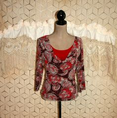 Red Paisley Top Bohemian Print Blouse Drape Neck by MagpieandOtis