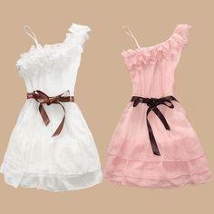 Sweet Flower Embellished Off The Shoulder Sleeveless A Line White Chiffon Mini Dresses