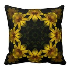Yellow Flowers Throw Pillows from Zazzle.com