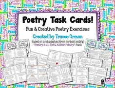 Poetry Task Cards to Practice Common Core Writing & Language Skills - 44 total task cards! $