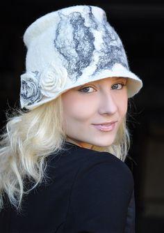 """Купить Шляпа """"Снежная"""" - шапка, шляпка, валяная шляпка, Елена Ост, абстрактный, чёрно-белый"""