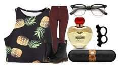 """Untitled #52"" by kaay-kay ❤ liked on Polyvore featuring Moschino, L'Artisan Créateur, Topshop, Beats by Dr. Dre and Dr. Martens"