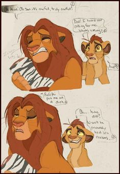 Haha I love Simba being a lovable goofball of a father XD the interactions between him and Kion are fun! Somebody help Simba. Disney Pixar, Bambi Disney, Disney Memes, Disney Fan Art, Disney And Dreamworks, Disney Cartoons, Lion King Series, Lion King Fan Art, Lion King 2
