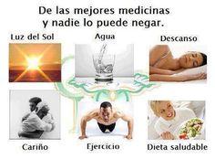 Lo mejor para la salud: luz del sol, agua, descanso, cariño, ejercicio y dieta saludable