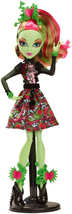 """Monster High Gloom 'n Bloom: Venus McFlytrap Doll. The Monster High ghouls will hold a monster Gloom and Bloom school dance to skullebrate the blooming of the corpse flower, which happens only once every 1,300 years! To """"bloom"""" with the garden theme, everyone will be dressed in their beast floral outfit."""