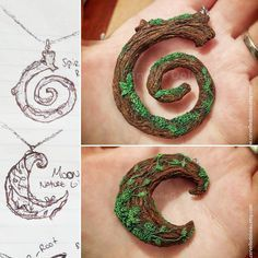 From an idea, come' a sketch, followed by a creation 💚#handmade #polymerclay #polymerjewelry Polymer Clay Projects, Polymer Clay Charms, Polymer Clay Creations, Diy Clay, Resin Crafts, Polymer Clay Jewelry, Wiccan Crafts, Biscuit, Air Dry Clay