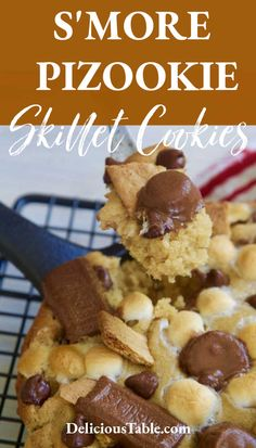 S'more Pizookie Skillet Cookies have milk chocolate, peanut butter cups, graham crackers, and marshmallows all melted together in a gooey pizookie cookie recipe. Bake in cast iron skillets or on cookie sheets! #pizookie #smorecookie #smore #skilletcookies #castironbaking Easy Chocolate Desserts, Decadent Chocolate, Pizookie Recipe, Cookie Recipes, Dessert Recipes, Cookie Sheets, Skillet Cookie, Yummy Treats, Sweet Treats