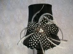 """Feathered Lamp Shade and Base  (4 1/2""""x 12"""") on Etsy, $18.00"""
