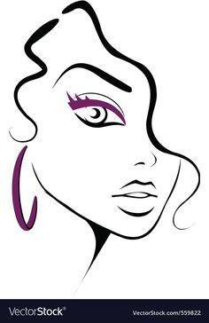 Make-up-Symbol Lizenzfreies Vektor-Bild - VectorStock Pencil Art Drawings, Easy Drawings, Art Sketches, Silhouette Art, Diy Canvas Art, Face Art, Painting & Drawing, Pop Art, Art Projects