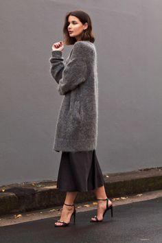 Harper & Harley // bob, long grey cardigan sweater, black cami midi dress & ankle-strap heels