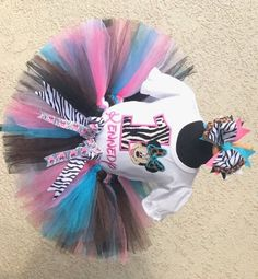 Jungle Zebra Leopard Diva Minnie Mouse Birthday Tutu Outfit