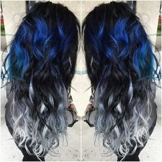 Blue and Silver Ombre Colorful Indian Remy Clip in Hair Extensions - - Blue and Silver Ombre Hair Color Extensions for Black hair girl~ Amazing new look~ Vpfashion new hair style come~ - - Ombre Hair Color, Cool Hair Color, Ombre Style, Balayage Color, Hair Color Ideas For Black Hair, Unique Hair Color, Balayage Hair, Silver Ombre Hair, Silver Hair Colors
