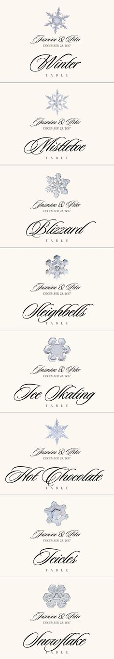 Snowflake Assortment Winter and Holiday Wedding Table Names