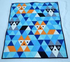 Fox & Friends equilateral triangle quilt