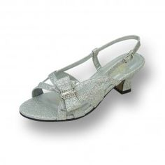 2aea49439f8a1d Shimmery slingback sandal designed for wide width comfort. Features  beautiful side bow trim and an adjustable strap for that custom fit.
